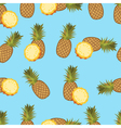 Pineapple seamless pattern Pineapple on blue vector image vector image