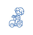 playing boy driving on car line icon concept vector image vector image