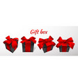 realistic black gift box with red bow isolated on vector image vector image