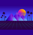retro futurism pyramids with palm trees vector image vector image