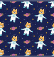seamless pattern with dog astronaut vector image