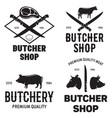 set butchery logo templates butchery labels vector image vector image