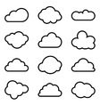 Set of twelve different shapes of clouds vector image vector image