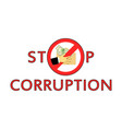stop corruption transfer of the money shadow vector image