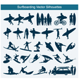 Surfboarding silhouettes vector | Price: 1 Credit (USD $1)