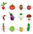 vegetables in characters vector image vector image