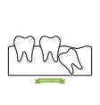 wisdom tooth - cartoon outline style vector image vector image