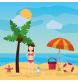 woman standing in beach palm umbrella bucket vector image vector image