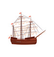 wooden sailing ship old marine vessel with beige vector image