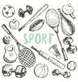 Sport equipment doodle set drawn sketch vector image