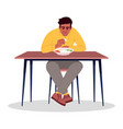 adult man eating rice semi flat rgb color indian vector image