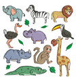 african animals on white background cute cartoon vector image