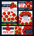 anzac day australian lest we forget posters vector image vector image