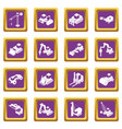 building materials icons set purple square vector image vector image