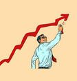 businessman draws graffiti sales growth graph vector image