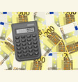 calculator on two hundred euro background vector image vector image