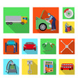 car lift pump and other equipment flat icons in vector image