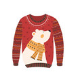 comfortable red handmade christmas sweater vector image