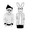couple of friendly panda and cute rabbit girl vector image vector image
