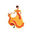 dancer lady in tobasco dress mexican cartoon woman vector image