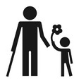 disability person and healthy kid icon simple vector image