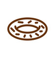 donut line icon sign for production of bread and vector image vector image