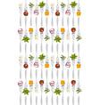 Forks with vegetables pattern vector image