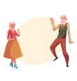 Full height portrait of old senior couple dancing vector image