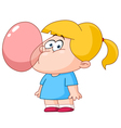 girl blowing bubble from gum vector image