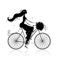 Girl with floral bouquet cycling vector image vector image