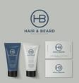 h b logo barbershop identity tubes mock up vector image