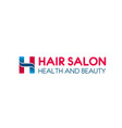 hair salon h letter icon for hairdresser vector image