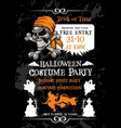 halloween holiday party poster with pirate skull vector image vector image