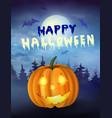 halloween pumpkin under the moonlight vector image vector image