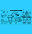 indonesia medan winter holidays skyline merry vector image vector image
