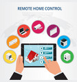 isometric remote home control smart home concept vector image vector image