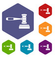 Judge gavel icons set