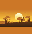Kangaroo on the hill scenery silhouettes vector image