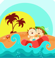 Kids on boat vector | Price: 3 Credits (USD $3)