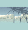 palm trees on background clouds and blue sea vector image