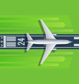 passenger plane fly up over take-off runway from vector image