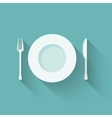 Plates and cutlery with long shadows vector image vector image