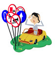 puzzled young woman a driver isolated vector image vector image