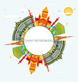 saint petersburg skyline with color buildings vector image vector image