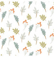 seamless pattern with rowan berry and autumn vector image