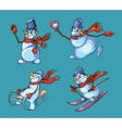 set cute snowman in different roles vector image vector image