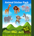 set of wild animal sticker vector image