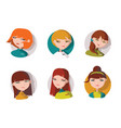 set with 6 lovely girls heads dressed like shop vector image
