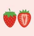 set with cartoon whole and half strawberry vector image