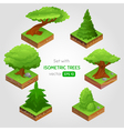 Set with isometric tree in cartoon style vector image vector image